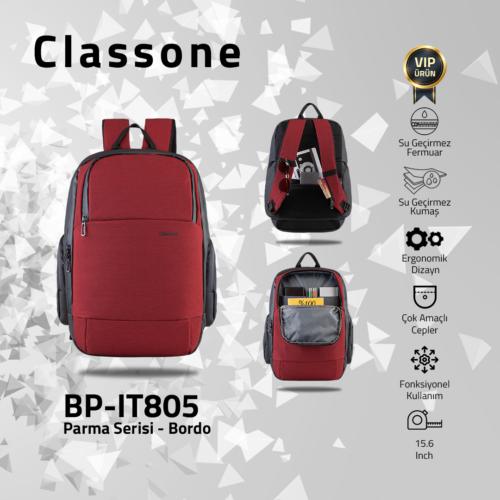 Classone BP-IT805 Parma Serisi 15.6'' Sırt Çantası-Bordo