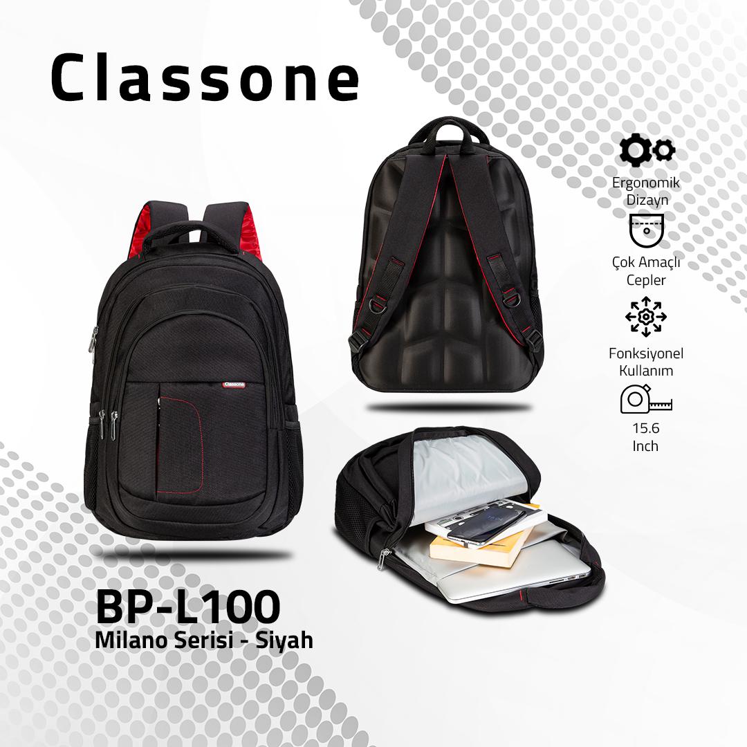 Classone BP-L100 Milano Serisi 15,6 inch Sırt Çantası - Siyah