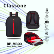 Classone BP-M300 Roma Medium Serisi 15,6 inch Sırt Çantası - Siyah