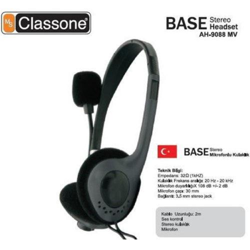 Base Serisi Kulaklık, Mikrofonlu ve Kablodan Ses Kontrol / Siyah