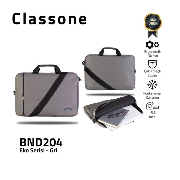 Classone BND204 Eko1 Serisi -15.6 inch Uyumlu Notebook Çantası -Gri