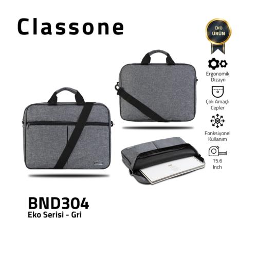 Classone BND304 Eko2 Serisi Laptop Notebook Çantası-15.6 inch Uyumlu-Gri