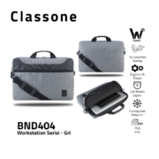 "Classone WorkStation Serisi BND404 15.6 "" Laptop Çantası-Gri"