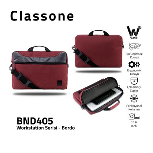 """Classone WorkStation Serisi BND405 15.6 """" Laptop Çantası-Bordo"""