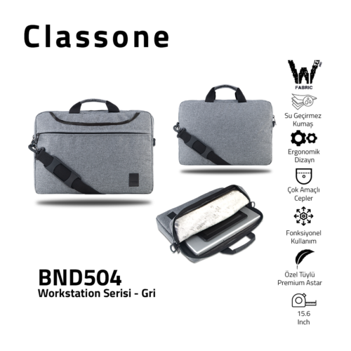 Classone WorkStation Series BND504 15.6 '' Laptop Bag-Gray