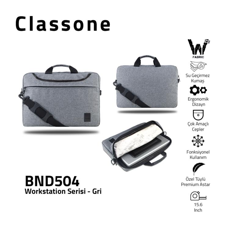Classone WorkStation Series BND504 15.6 '' Laptop Bag-Gray