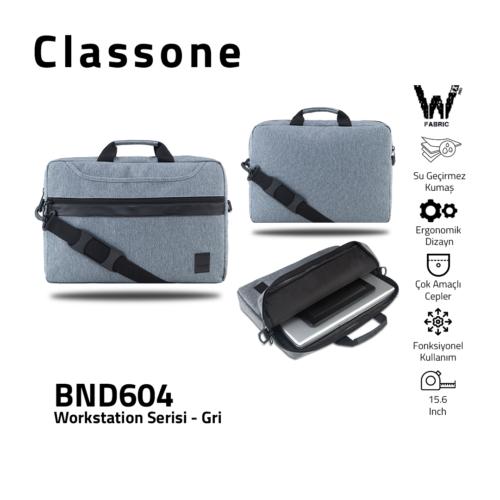 "Classone WorkStation Serisi BND604 15.6 "" Laptop Çantası-Gri"