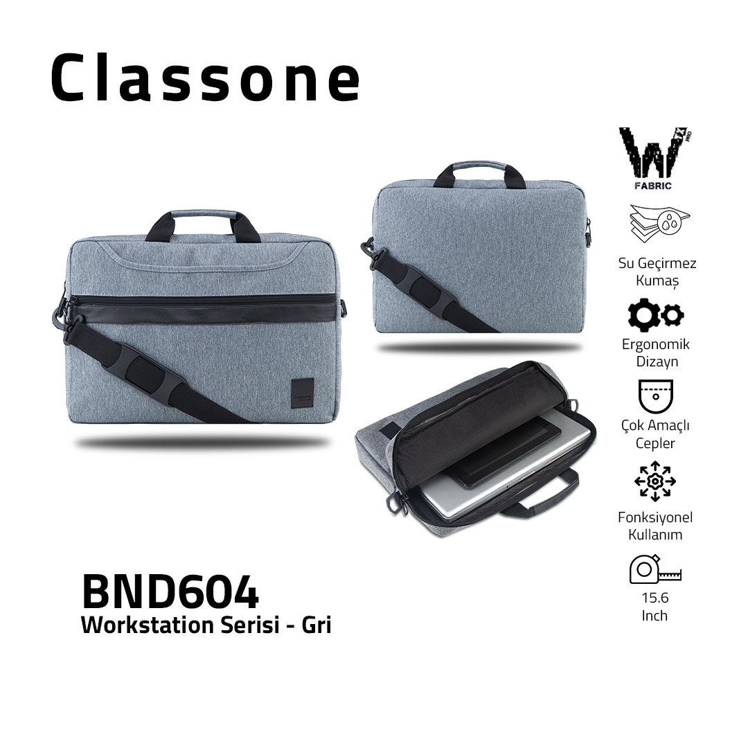 "Classone WorkStation Serisi BND604 15.6 "" Laptop Çantası-Gri"