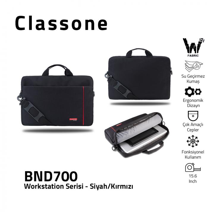 Classone BND700 WorkStation4 Serisi 15.6 inch Laptop, Notebook Çantası-Siyah/Kırmızı
