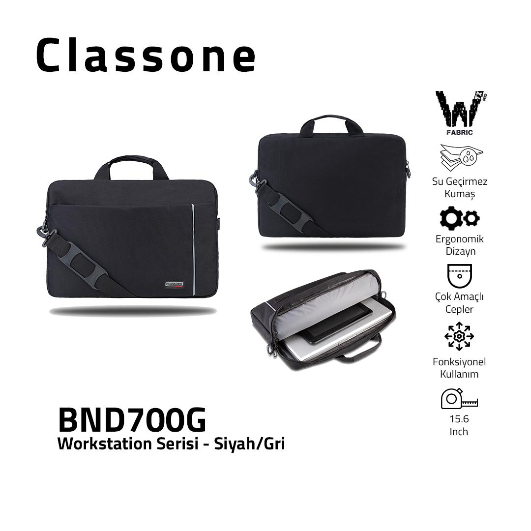 Classone BND700G WorkStation4 Serisi 15.6 inch Laptop, Notebook Çantası -Siyah/Gri