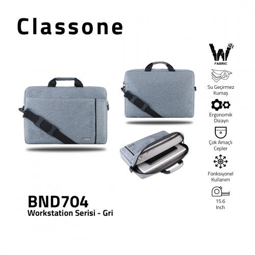 Classone BND704 WorkStation4 Serisi 15.6 inch Laptop, Notebook Çantası-Gri