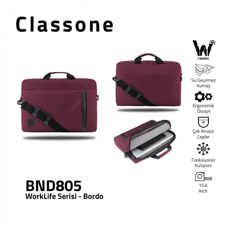 Classone BND805 WorkLife Serisi 15.6 inch Laptop, Notebook Çantası -Bordo