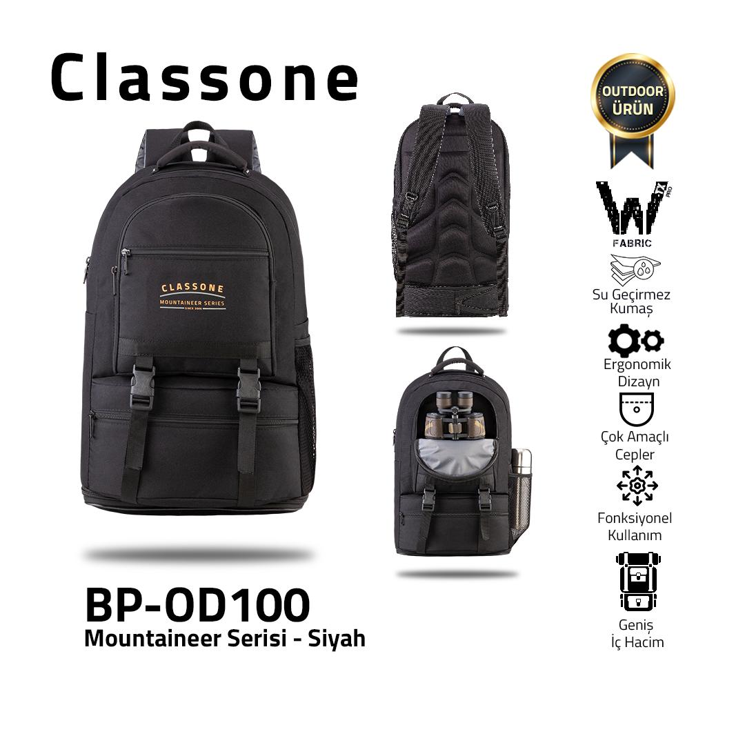Classone BP-OD100 Mountaineer Serisi Dağcı Sırt Çantası - Siyah