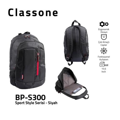 Classone BP-S300 Sport Style Serisi 15,6 inch Sırt Çantası - Siyah