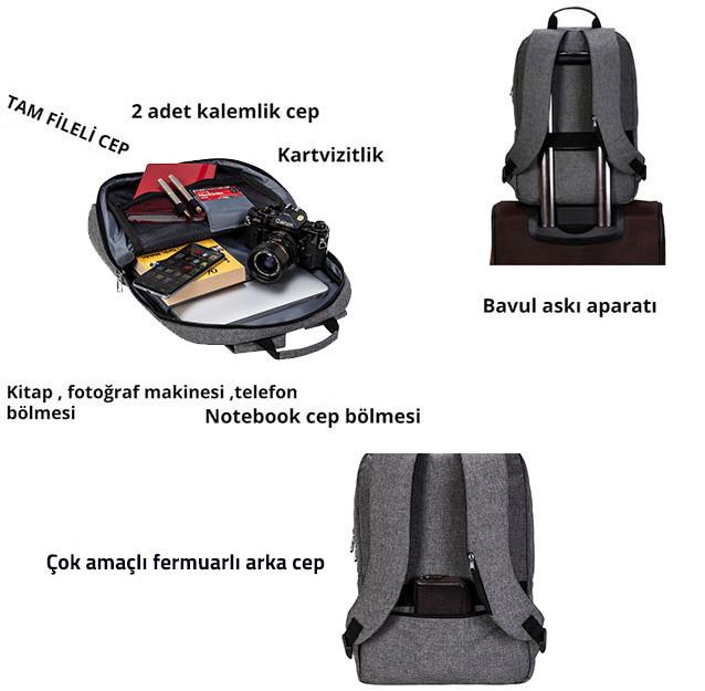 Classone BP-Z204 Zaino Serisi 15,6 inch Notebook Sırt Çantası / Gri
