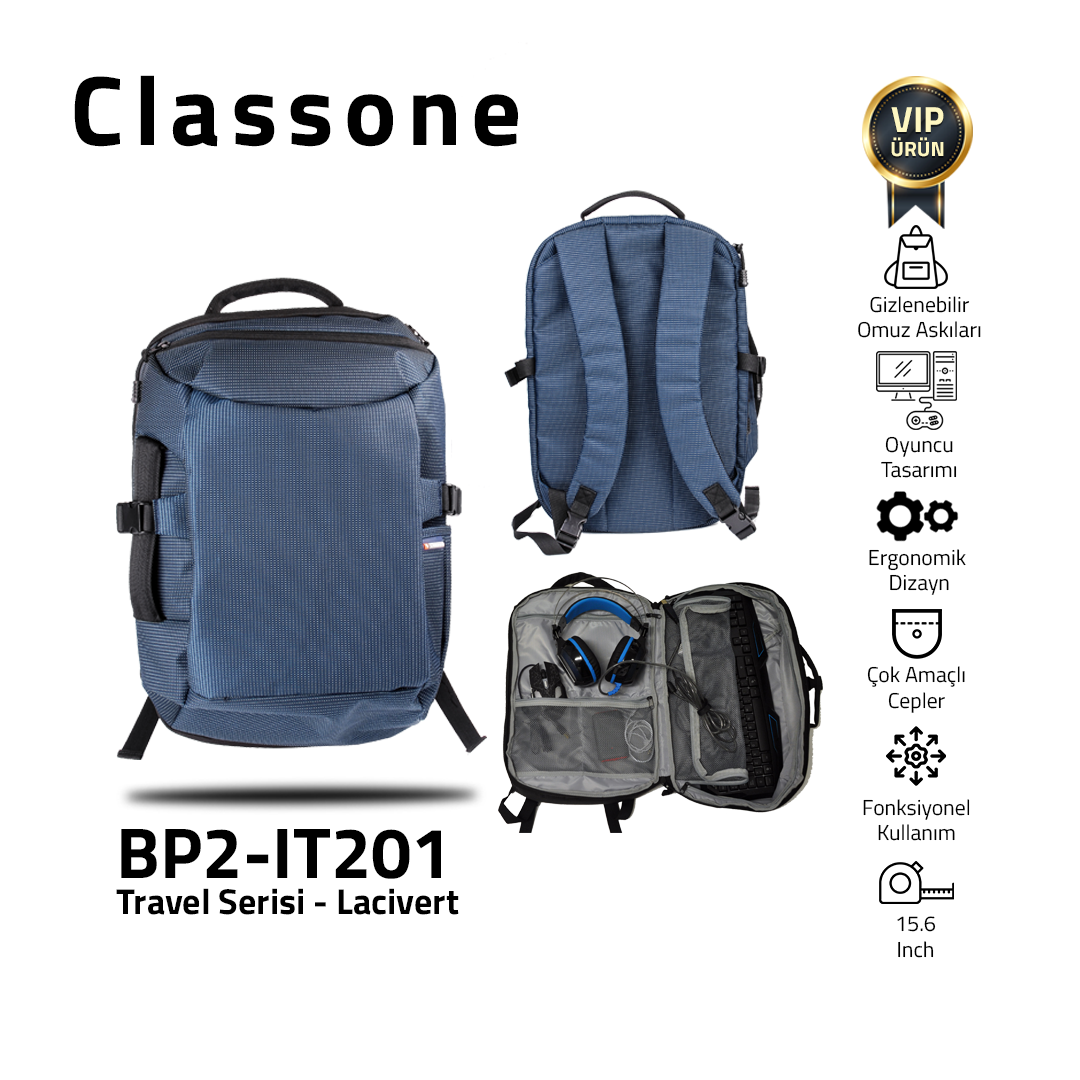 Classone BP2-IT201 Travel Serisi Seyahat ve Gaming Sırt Çantası 15 inch-Lacivert