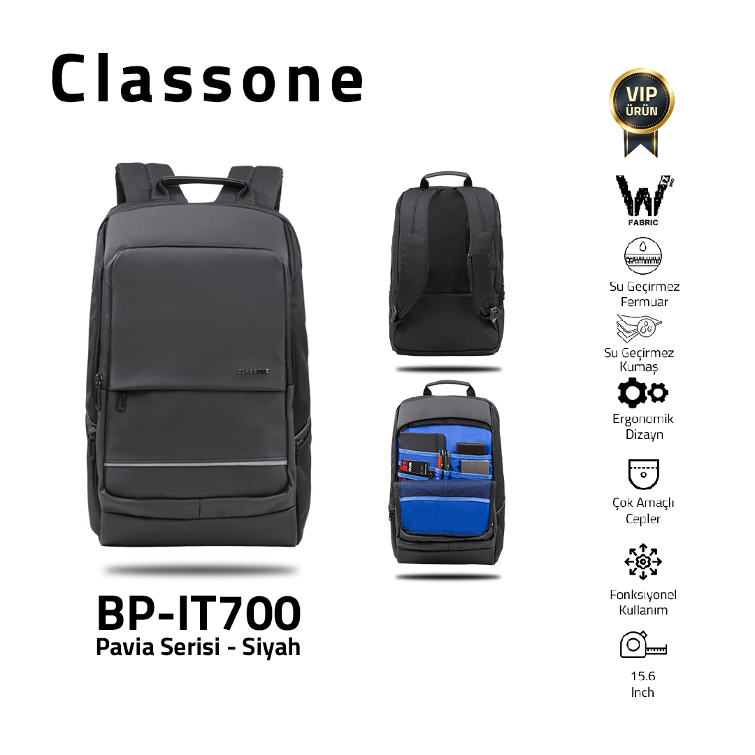 Classone BP-IT700 Pavia 15.6 ″ Laptop, Notebook Backpack-Black