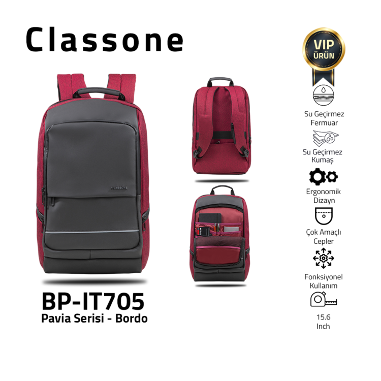 Classone BP-IT705 Pavia 15.6 ″ Laptop, Notebook Backpack - Claret Red