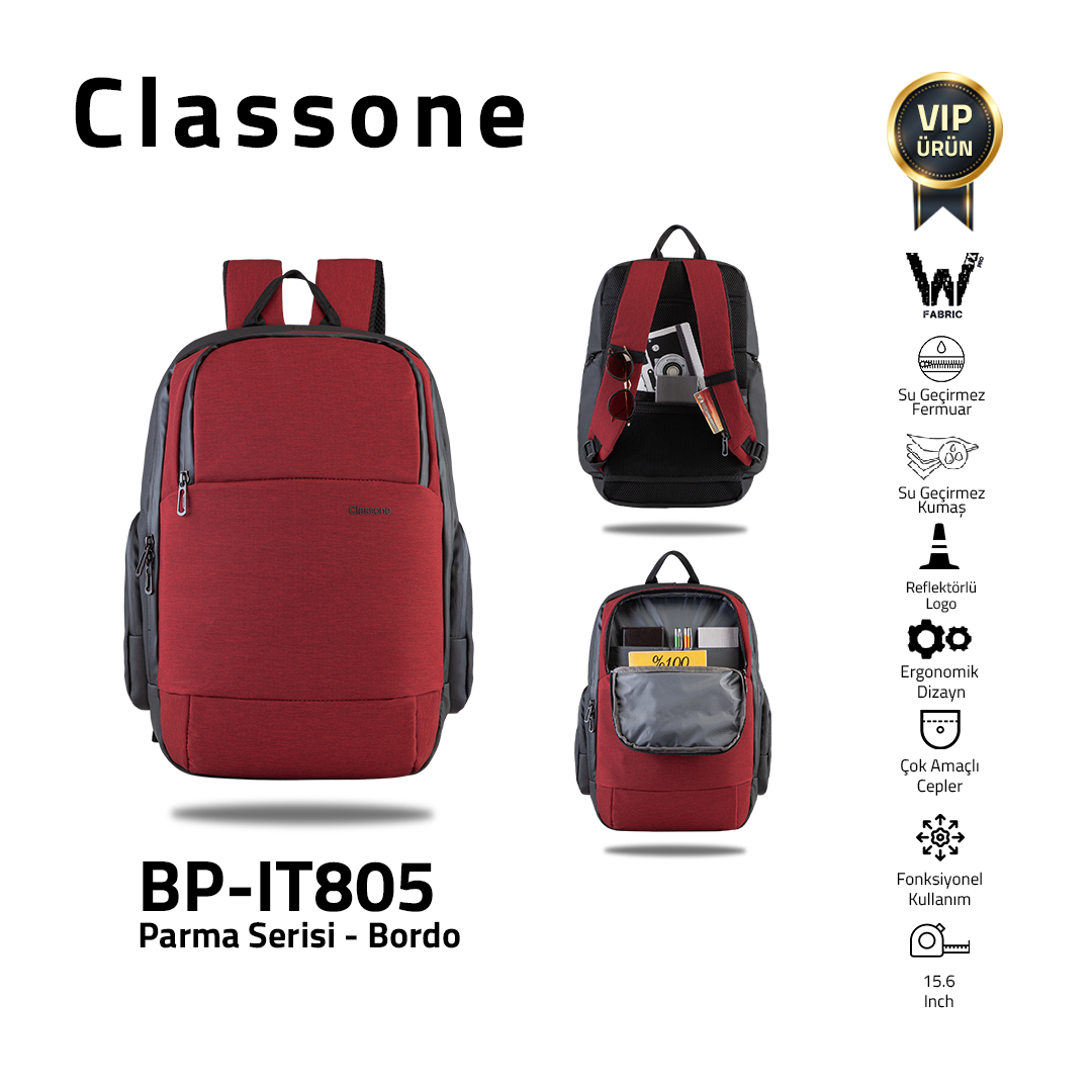Classone BP-IT805 Parma Serisi 15.6'' Sırt Çantası-Bordo