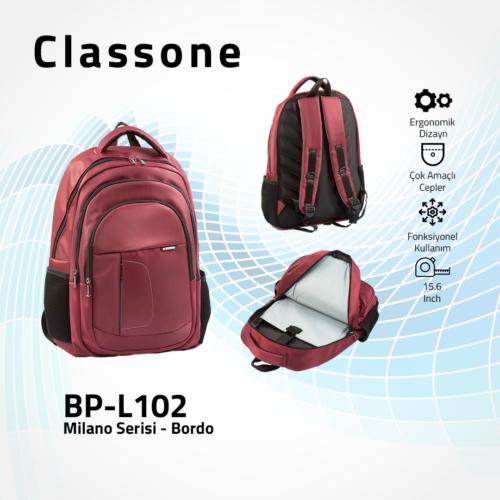 Classone BP-L102 Milano Serisi 15,6 inch Sırt Çantası - Bordo