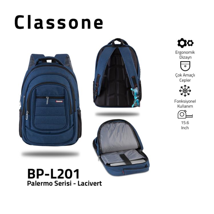 Classone BP-L201 Palermo Serisi 15,6 inch Sırt Çantası - Lacivert