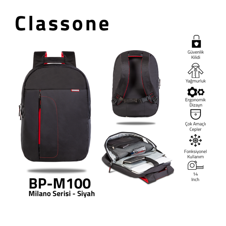 Classone BP-M100 Milano Serisi 13-14 inch Medium Sırt Çantası - Siyah
