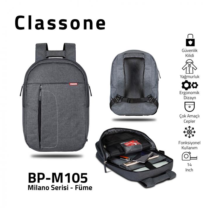 Classone BP-M105 13,3-14 inç Uyumlu Milano Serisi Medium Sırt Çantası - Füme