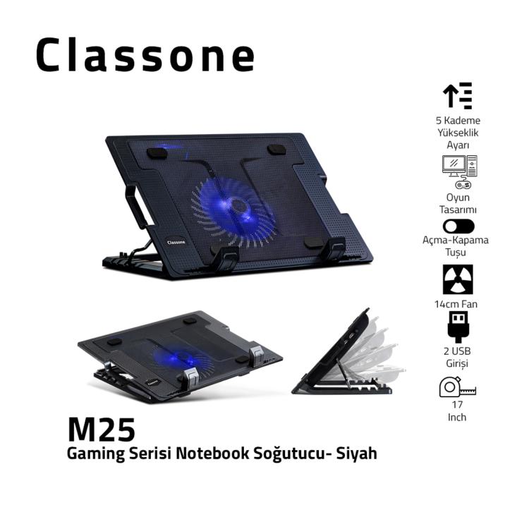 """Classone M25 5x Yükseklik Ayarlı Notebook Soğutucu 10-17"""" Uyumlu - Siyah"""