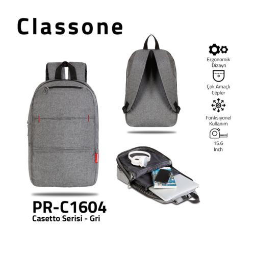 Classone PR-C1604 Casetto-Serie 15.6 Laptop-Rucksack - Grau