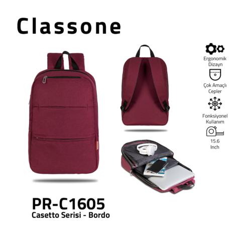 Classone PR-C1605 Casetto-Serie 15.6 Laptop-Rucksack - Weinrot