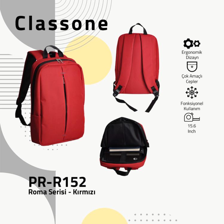 Classone PR-R152 Roma Serisi 15,6 inch Notebook Sırt Çantası - Kırmızı