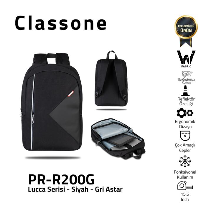 Classone Lucca Serie 15.6 Laptop-Rucksack / Grau Futter