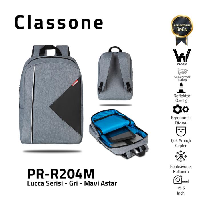 Classone Lucca Serie PR-R204M 15.6 Laptop-Rucksack / Grau-Blau Liner