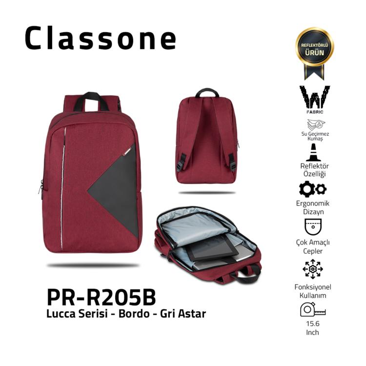 Classone Lucca Serie PR-R200Y 15.6 Laptop-Rucksack / Kastanienbraun - Grau Liner