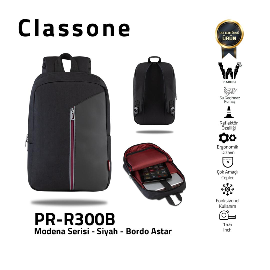 Classone Modena Serie PR-R300B 15.6 Laptop-Rucksack - Schwarz/ Kastanienbraun