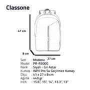 Classone Modena Serisi PR-R300G 15.6 Notebook Sırt Çantası-Siyah-Gri Astar