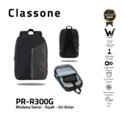 Classone Modena Series PR-R300G 15.6 Laptop Backpack - Black/Grey