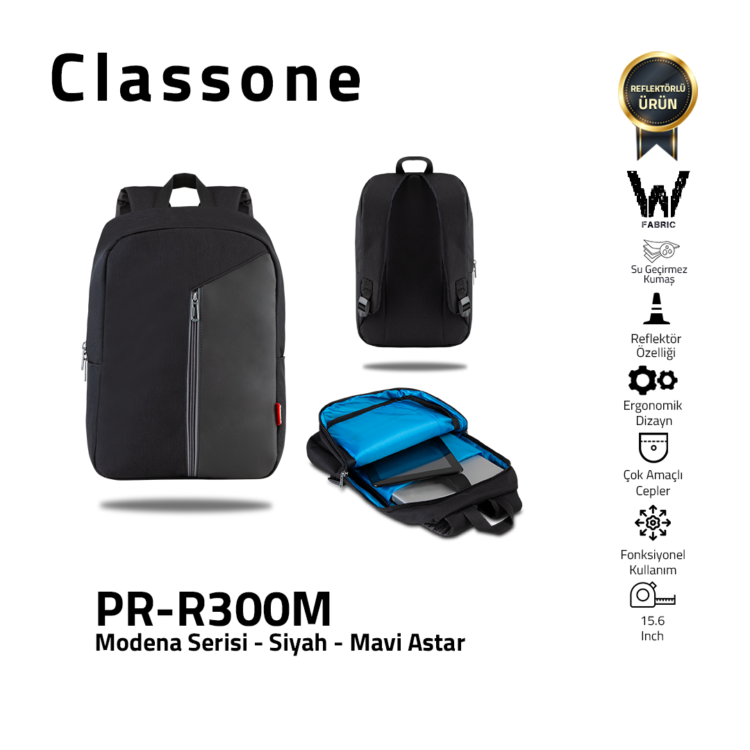 Classone Modena Series PR-R300M 15.6 Laptop Backpack - Black/Blue