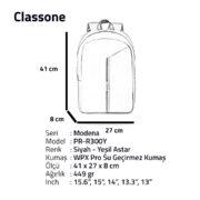 Classone Modena Serisi PR-R300Y 15.6 Notebook Sırt Çantası-Siyah-Yeşil Astar
