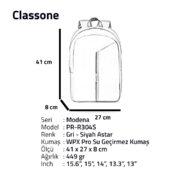 Classone Modena Serisi PR-R304S 15.6 Notebook Sırt Çantası-Gri-Siyah Astar