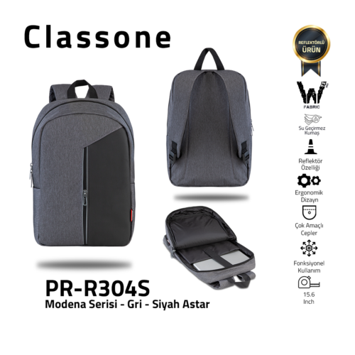 Classone Modena Series PR-R304S 15.6 Notebook Backpack-Gray-Black Liner