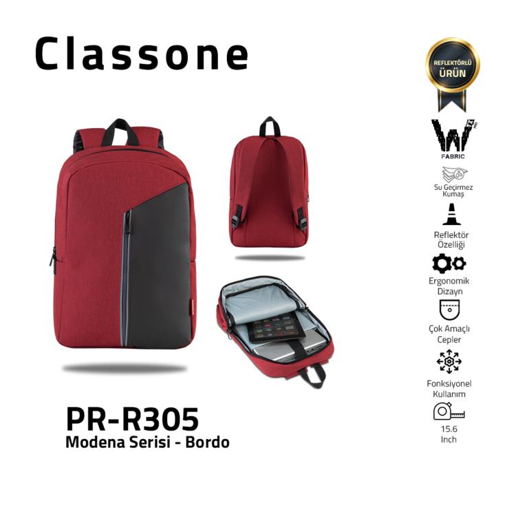 Classone Modena Serie 15.6 Laptop-Rucksack - Weinrot