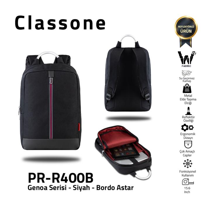 Classone Genoa Serie PR-R400B 15.6 Notebook Rucksack-Schwarz-Claret Rot Futter