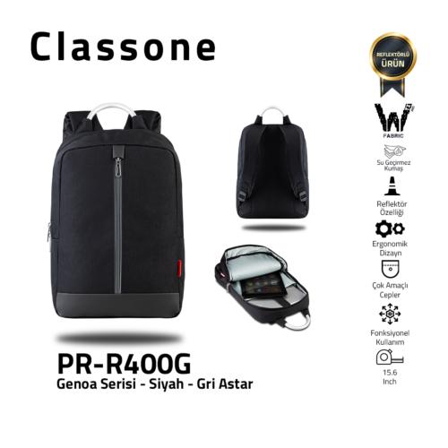 Classone Genoa Serie PR-R400G 15.6 Rucksack Notebook Tasche-Schwarz-Grau Liner