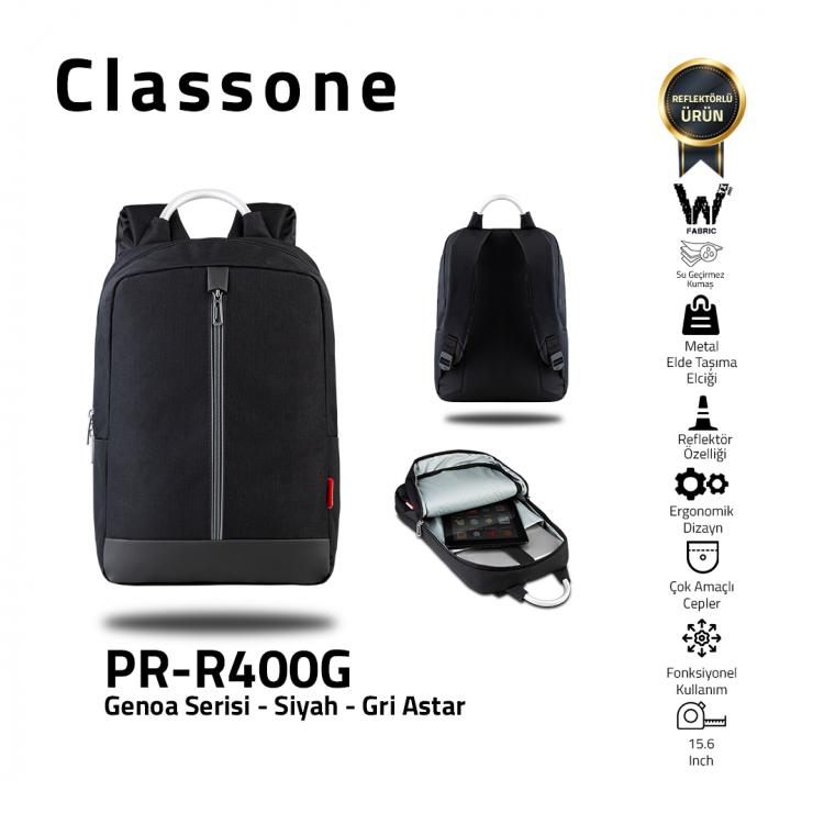 Classone Genoa Serisi PR-R400G 15.6 Sırt Notebook Çantası-Siyah-Gri Astar