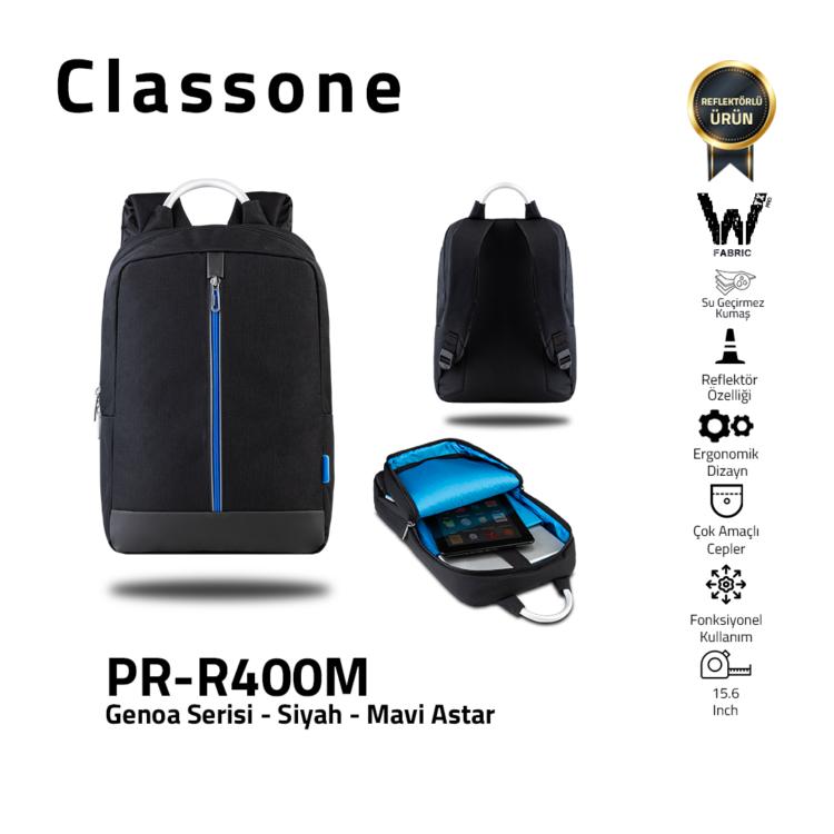 Classone Genoa Serie PR-R400M 15.6 Notebook Rucksack-Schwarz-Blau Innenschuh