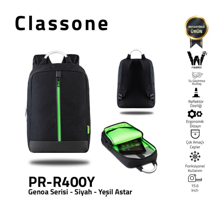 Classone Genua Serie PR-R400Y 15.6 Notebook Rucksack-Schwarz-Grün Liner