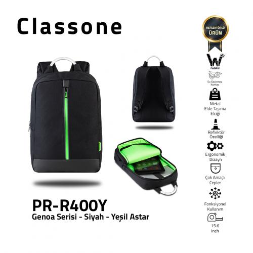 Classone Genoa Serisi PR-R400Y 15.6 Notebook Sırt Çantası-Siyah-Yeşil Astar