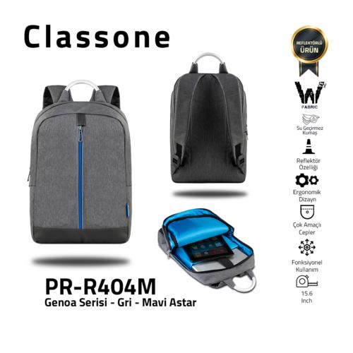 Classone Genoa Serie PR-R404M 15.6 Notebook Rucksack-Grau-Blau Liner