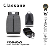 Classone Genoa Serie PR-R404S 15.6 Notebook Rucksack-Grau-Schwarz Liner